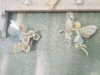 Vintage Garden Fairy Set of 2 Wall Metal Art Hanging with Rusted Edges Fairies