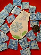 """ Blue Wild Flower & Butterfly Focal "" Broken China Plate Mosaic Tiles Country"