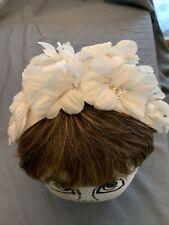 New listing Vintage Ivory & White Floral Flower Women's Fascinator Halo Hat Teardrop shape