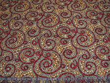 1 Yard Quilt Cotton Fabric- Benartex Byzantium Mosaic Tile Swirl Rust on Gold