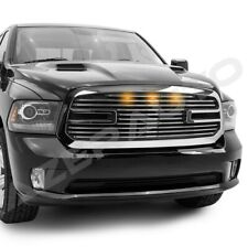 Big Horn II+3x Amber LED Chrome Packaged Grille+Shell for 13-17 Dodge RAM 1500