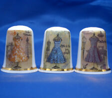 Birchcroft China Thimbles -- Set of Three --  Dressmaking