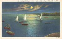 Postcard Moonlight Sailing at Dewey Beach Rehoboth Bay Delaware