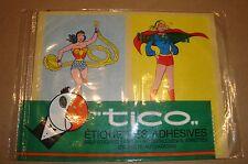 WONDER WOMAN - SUPERGIRL DC ETICHETTE AUTOADESIVE VINTAGE TICO ANNI '70/'80