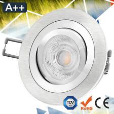 Einbaustrahler Aluminium gebürstet Silber Rund LED SMD GU10 MR16 Schwenkbar
