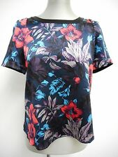 Beautiful silk top by Marc by Marc Jacobs black satin with floral print XS UK6-8