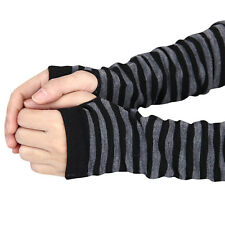 Womens Stripe Knitted Fingerless Winter Gloves Soft Warm Wrist Arm Long Mitten