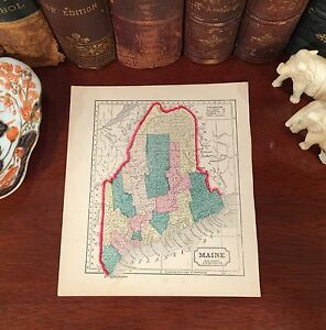 Original Hand-Colored 1856 Antique Pre-Civil War Map MAINE Portland Augusta Saco