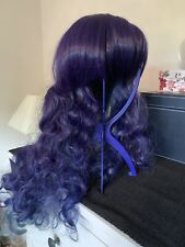 Long Purple Blue & Green Cosplay Full Curly Wig with Adjustable Cap