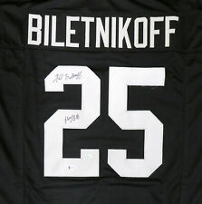 "RAIDERS FRED BILETNIKOFF AUTOGRAPHED SIGNED BLACK JERSEY ""HOF 88"" BECKETT 159180"
