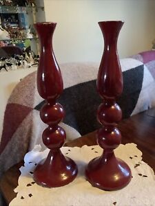 vintage habitat london pair wood candle Stick holders painted wood in burgundy