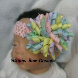 Easter Pastels Round Fat Korker Hair Bow Headband Fits Preemie to Adult Holiday