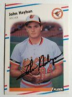 1988 Fleer John Hayban Auto Autograph Card Signed Orioles #562
