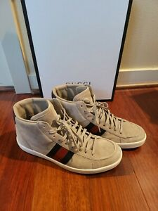 GENUINE! Gucci Mens Brown Suede 337221 High-Top Sneaker W/GUCCI BRB Leather