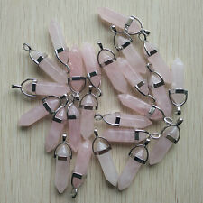 Natural rose Quartz Stone Point Chakra Healing Pendants 24pcs/lot Wholesale