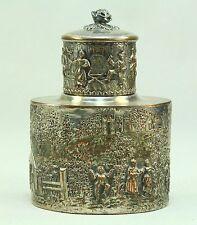 !Antique c.1892- 1898 BARBOUR Silver Co. Ornate Repousse Tea Caddy Box Container