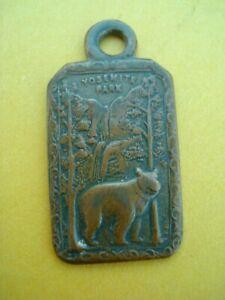 Rare Vintage Yosemite National Park Brass Bear Fob Key Chain Charm