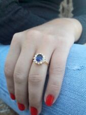 3Ct Oval Created Blue Sapphire Diamond Halo Engagement Ring 14k Yellow Gold Fnsh
