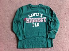 BNWT Gymboree Green Long Sleeved Top Santa's Biggest Fan 5 Years