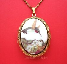 Porcelain Hummingbird and Baby CAMEO Locket Pendant Necklace for Birthday Gift