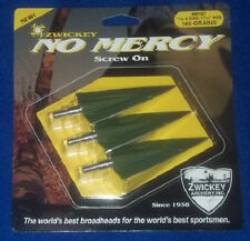 Zwickey No Mercy 2 Edge Broadhead 165 Grain 3 Pack Screw On - Dbl Bevel, RW, LW