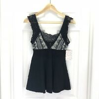 Free People Women's Deep V Black Lace Knit Tank Top Sz S NWT $98