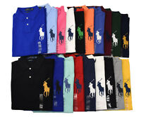 Men Polo Ralph Lauren Mesh Polo Shirt BIG PONY - S M L XL XXL - CUSTOM FIT
