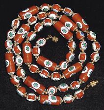 Venetian Murano Glass Bead Necklace Red Brown Millefiori Tubes Knotted 28in