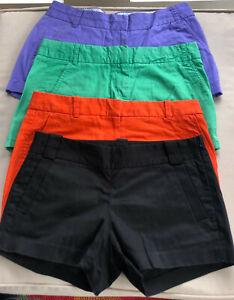 Lot 4 J Crew Women's Shorts Purple Green Black Orange Size 2
