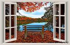 Lake Bench Autumn Window View Repositionable Color Wall Sticker Wall Mural