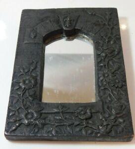 Vintage Pottery Composite Mirror Frame Castle Fleur de Lis Roses Flowers