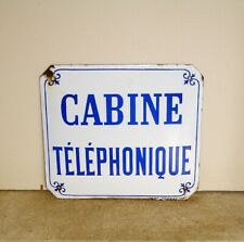 """Plaque émaillée Bombée """" Cabine téléphonique """" Famille JAPY Fleurs de Lys"""