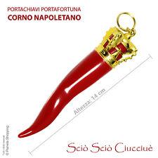 CORNO Portachiavi Portafortuna Napoletano Amuleto ROSSO Grande Gigante 14 cm