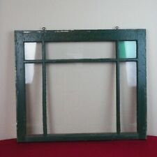 "Antique Farmhouse Old Wood Window Sash 6 Pane Picture Frame 28 X 23"" X 2"" Green"