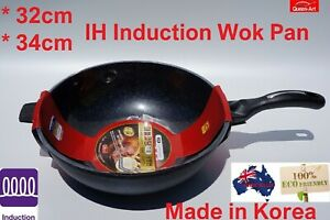 32cm, 34cm  Non Stick Stone&Marble coated Wok Pan with  Free GLASS LID + GIFT