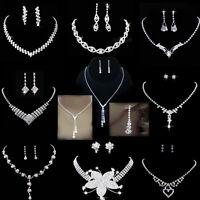 Wedding Bridal Bride Rinestone Crystal Silver Necklaces Earrings Jewellery Set