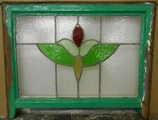"""MID SIZED OLD ENGLISH LEADED STAINED GLASS WINDOW Floral Sash 24.75"""" x 17.75"""""""