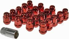 DORMAN 711-235E SET OF (16) RED COLORED WHEEL ACORN NUTS & 4 LOCK NUTS WITH KEY