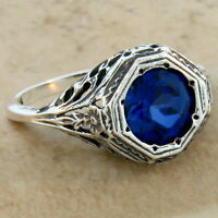 2 CT. BLUE LAB SAPPHIRE ANTIQUE ART DECO STYLE .925 STERLING SILVER RING, #72