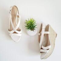 Via Spiga White Wedge Sandals Snake Print Leather Espadrille Heels Shoes Sz 8.5