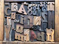 Antique Letterpress Printers WOOD TYPE Mix 43 Pieces