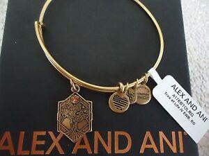 Alex and Ani TREE OF LIFE IV Russian Gold Charm Bangle New W/ Tag Card & Box