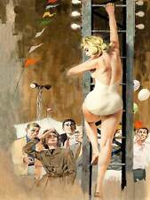 Ley de circo de pintura muchedumbre subir escalera rubia mujer impresión de arte poster BB8390