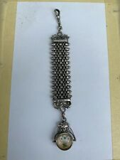 antique silver pocket watch chain chatelaine / playing cards theme