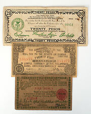 Set of 3 different Philippines WW2 guerrilla paper money circ.