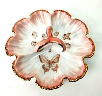 """Candy Nut Condiment Porcelain Three Compartment 8"""" Dish"""