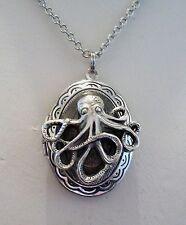 OCTOPUS Double LOCKET Silver Pltd Necklace - goth Pirate Steampunk HALLOWEEN