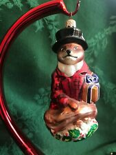 Christopher Radko Ornament Fox in Top Hat and Red Coat Holding Gift