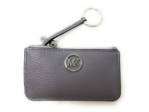 NWT Michael Kors Fulton Leather Key Pouch with Keyring in Lilac Purple