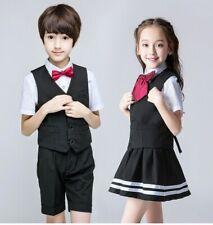 4Pc Set Childrens Girls Boys Formal Uniform Suspender Dress Skirt Shirt Pants Zg